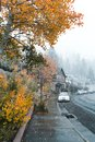 A snow storm blankets June Lake California Royalty Free Stock Photo