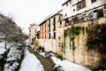 Snow storm darro river granada andalusia spain Royalty Free Stock Image