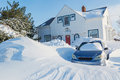 Snow storm in suburbia a north america suburban neighborhood Royalty Free Stock Image