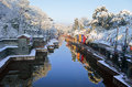 Snow suzhou street the summer palace beijing china。 Royalty Free Stock Images