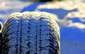 Snow tire spare after flurries Stock Photo