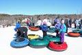 Snow tubing windham mountain ski resort in catskill mountains new york Stock Image