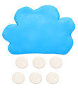 Snow weather forecast icon symbol plasticine clay on white background Stock Images
