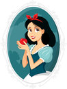 Snow White Holding Apple Vector Illustration Royalty Free Stock Photo