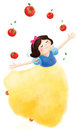 Snow white throw apples show Royalty Free Stock Photo