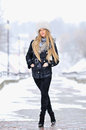 Snow winter woman portrait outdoors on snowy white winter day Royalty Free Stock Photos