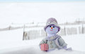 Snow woman in the snow a whimsical purple enjoys an outing Royalty Free Stock Photo