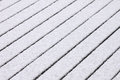 Snow on wooden floor made of planks Royalty Free Stock Photo