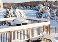 Snow on wooden table Stock Photos