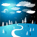 Snow in the woods illustration Royalty Free Stock Photos