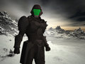 Snow world space ranger futuristic against an icy landscape Stock Images