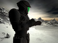 Snow world space ranger futuristic against an icy landscape Royalty Free Stock Images