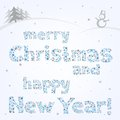 Snow xmas text message on the light christmas background that congratulates with holidays Stock Image