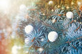 Snowballs on christmas tree outdoors decoration balls Royalty Free Stock Photography