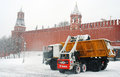 Snowblower clears snow covered red square moscow extreme snowstorm moscow taken march moscow russia Royalty Free Stock Photos