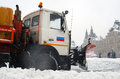 Snowblower clears snow covered red square moscow extreme snowstorm moscow taken march moscow russia Royalty Free Stock Image