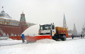 Snowblower clears snow covered red square moscow extreme snowstorm moscow taken march moscow russia Stock Photography