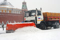 Snowblower clears snow covered red square moscow extreme snowstorm moscow taken march moscow russia Stock Images