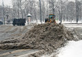 Snowblower clears street snow extreme snowstorm moscow taken march moscow russia Stock Photos