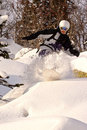 Snowboard freeride in Sibirien Stockfoto