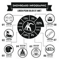Snowboard infographic concept, simple style