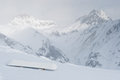 Snowboard at slope in the Alpine mountains Stock Image