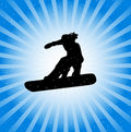 Snowboarder in action Stock Images