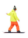 Snowboarder in action on white Stock Image