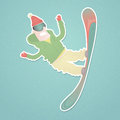Snowboarder flying against paper cutout vector illustration Royalty Free Stock Images