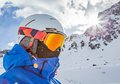 Snowboarder portrait with falling snow Stock Images