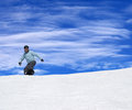 Snowboarder on ski slope at nice sun day Royalty Free Stock Images