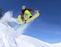 Snowboarder in the sky Royalty Free Stock Photo