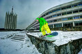 Snowboarding in the city Royalty Free Stock Photography