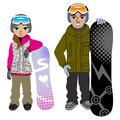 Snowboarding couple isolated vector illustration of Royalty Free Stock Image