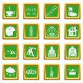 Snowboarding icons set green
