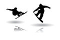 Snowboarding silhouette vectors Stock Photos