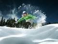 Snowboarding view of a young girl in winter environment Royalty Free Stock Photography