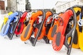 Snowboards on snow abstract of waiting fresh Stock Image