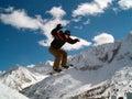 Snowborder jumping Royalty Free Stock Photo