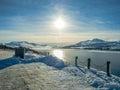 Snowcapped Mountain Akureyri City during Winter