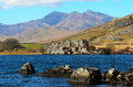 Snowdon from llynnau lake in snowdonia national park gwynedd north wales Royalty Free Stock Photography