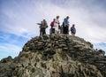 Snowdon mountain top tourists gather on the peak of peak wales Royalty Free Stock Images