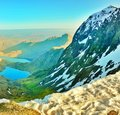 Snowdon in wales snow capped majestic mount Stock Image