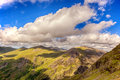 Snowdonia blue sky and clouds across the mountains of north wales uk Royalty Free Stock Photography