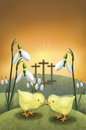 Snowdrop and chicken on Easter day Royalty Free Stock Photos