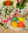 Snowdrops and Easter colored eggs Stock Photo