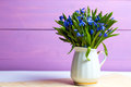 Snowdrops in a vase on a table on a pink background Stock Photo