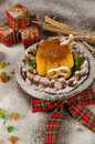 Snowed house dessert creme caramel a kid christmas treat Stock Images