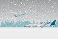 Snowfall in airport.