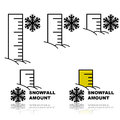 Snowfall amount concept illustration showing a ruler buried in snow to measure different amounts of Royalty Free Stock Image